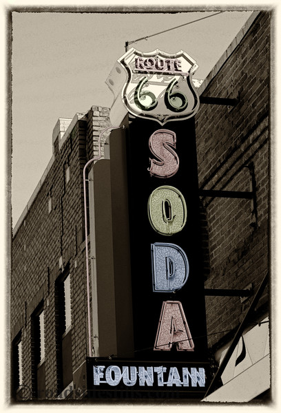 Route 66 Neon Soda Fountain Sign