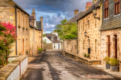 Street Scene After the Rain, Garmouth, Moray, Scotland