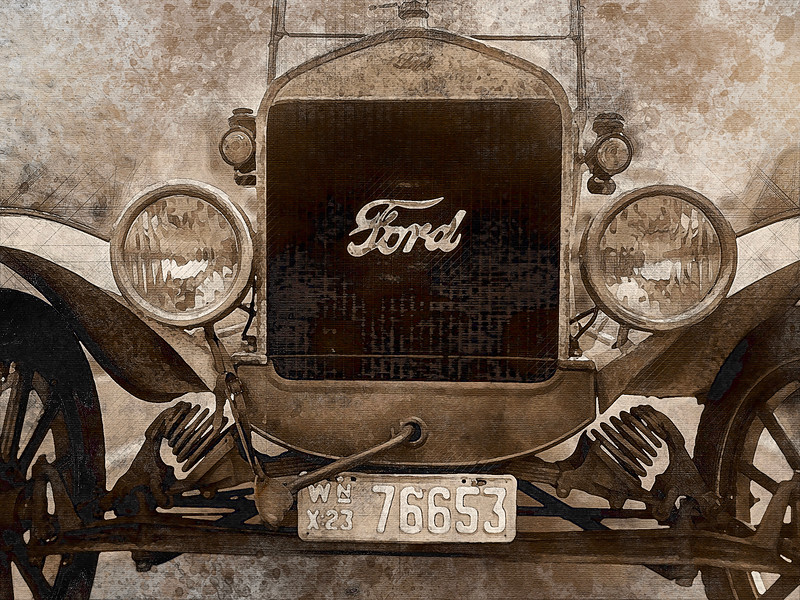 classic car ford model t sepia watercolor