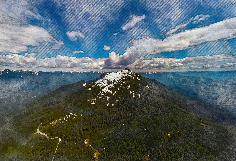 mountain snow forest clouds aerial watercolor art