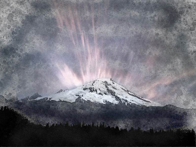 mountain snow forest clouds long exposure watercolor pnw