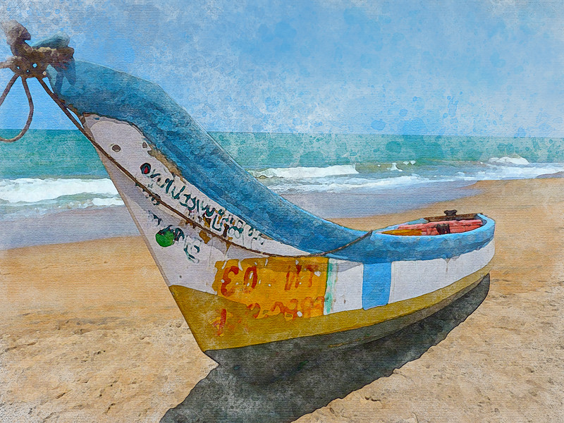 beach sea coast water sand ocean boat watercolor