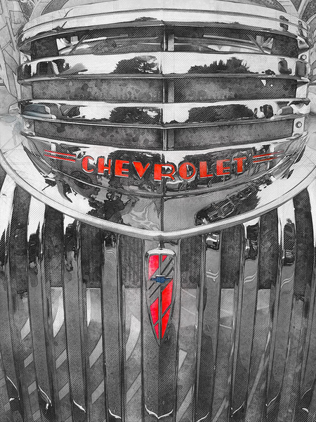 black white color splash classic car truck chevrolet chevy watercolor art decor mancave