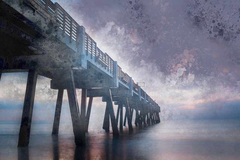 ocean beach water pier florida long exposure watercolor art decor