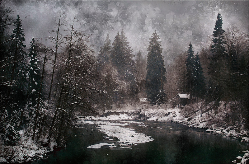 winter snow forest river water cabin moody art watercolor