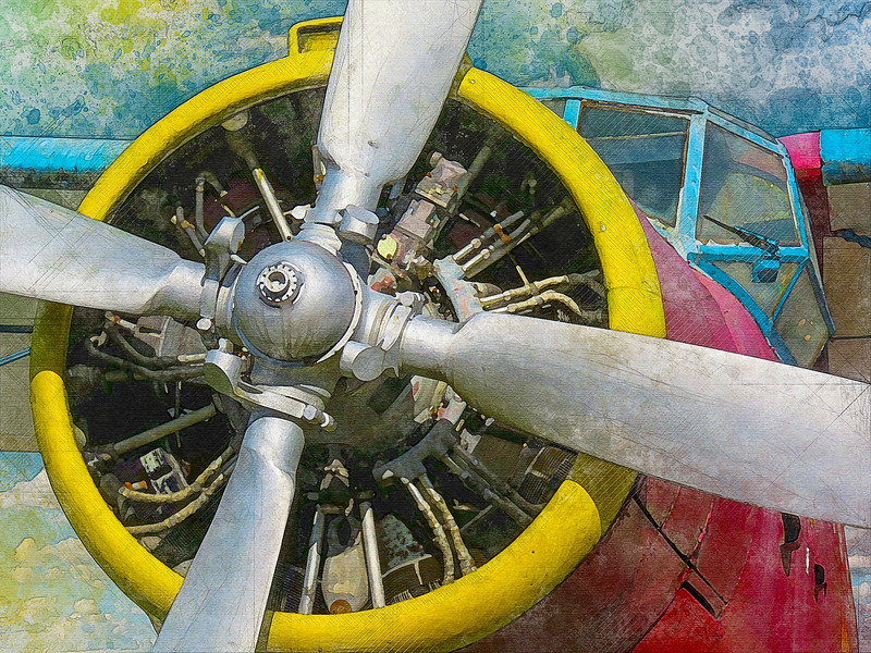 airplane propeller engine watercolor