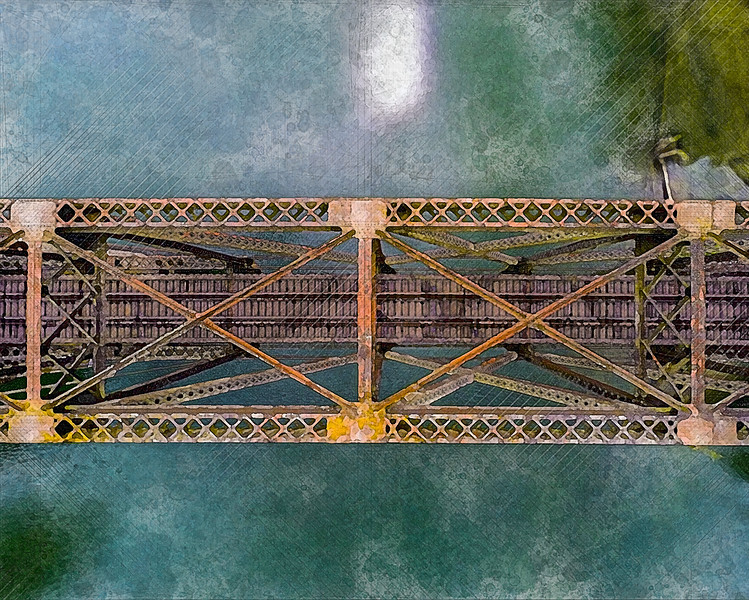 water river train tracks bridge aerial view art watercolor decor