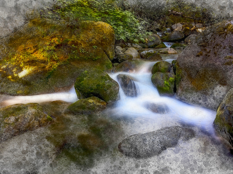 water river forest stream long exposure watercolor