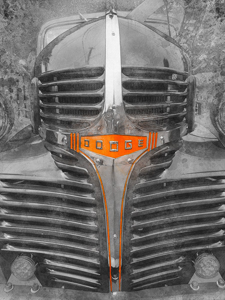 black white color splash classic car truck dodge mopar watercolor art decor mancave