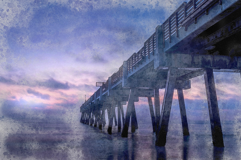 beach ocean water pier art watercolor blue hour florida