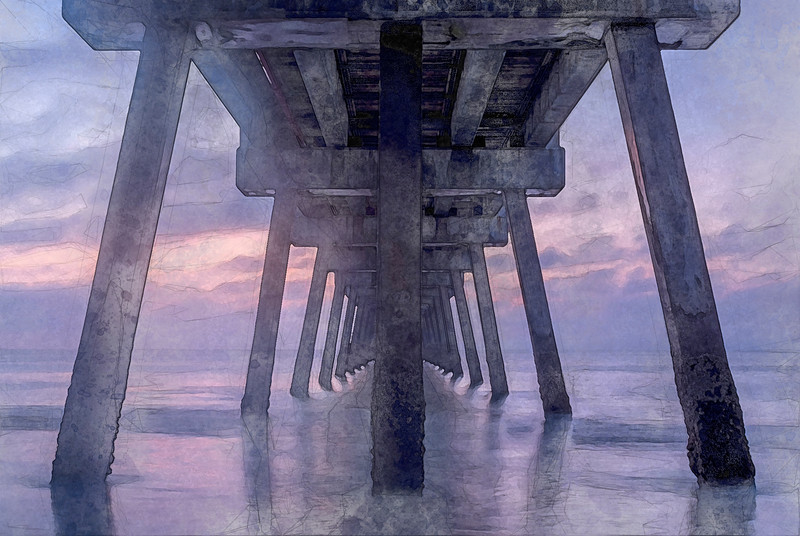 watercolor pier
