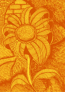 flower illustration in hand drawn print style strokes