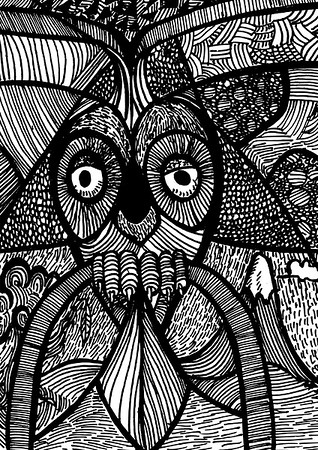The Owl - Print styled pattern design of an owl perched on branch