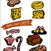 sweets, snacks and cake icon set - hand drawn illustrations