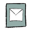 Hand Drawn mail icon button