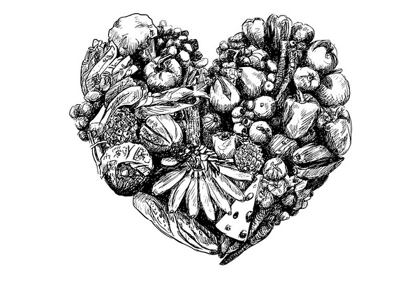 Health eating - Heart of food - Hand Drawn food heart illustration