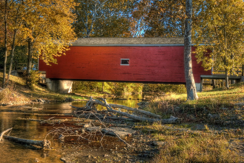 "The "" Roberts Covered Bridge ""  built in 1829 by Orlistus Roberts over Seven Mile Creek in Eaton Ohio."
