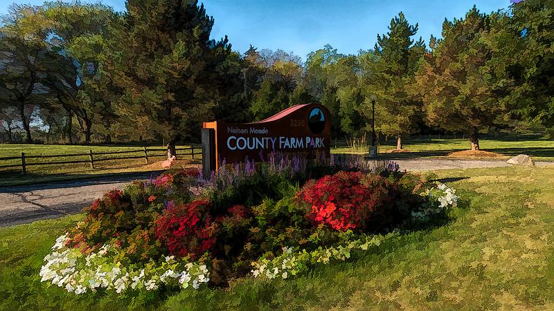 Landscaped park signage - filtered