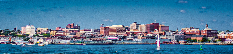 Downtown Portland - View from Casco Bay (painted)