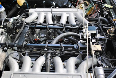 DEM partly installed on a 6 litre V12. Note all new injector wiring and connectors