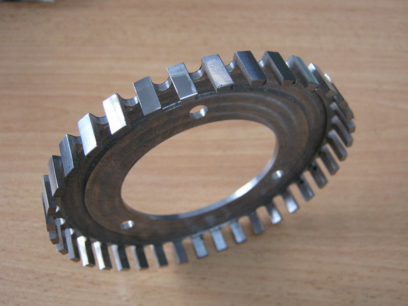 Early KWE trigger wheel machined from solid and attached to the crank pulley