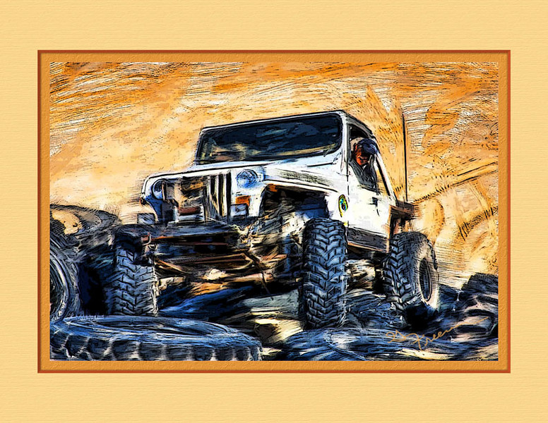 One of my Jeep Club friends trying an obstical course in our local desert.  Painted using the acrylic brush set in Corel Painter XI along with some Photoshop filter magic and matted using Quick Mats.