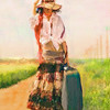 Traveling Lady<br /> <br /> Rendered in Painter XI using impasto brush variants.<br /> <br /> Original reference photo supplied fom retouchpro.com challenges forum.