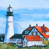 Portland Head Lighthouse, Portland Maine.   Painted using Painter's watercolor brushes.