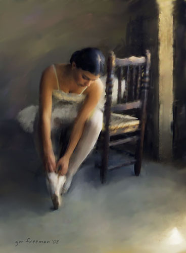 Ballerina rendered in digital chalk.  I took the reference photo over 35 years ago.  I had to wait for<br /> the digital art technology to develope before I could render it as such.