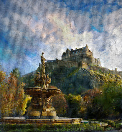The Castle.  Painted in Photoshop C5 using special brushes an many layer masks.