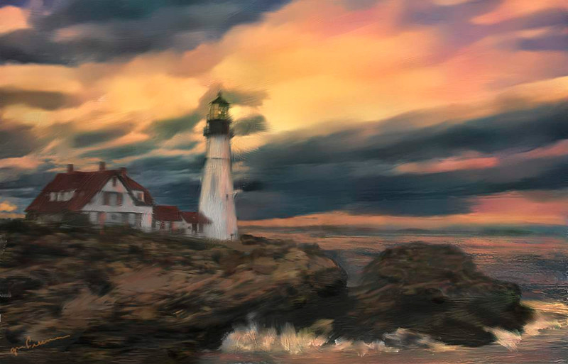 Another painting of Portland Lighthouse in Oil.