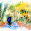 Horse Ride in Fall.<br /> <br /> End result of a tutoial exercise offered by Karen Bonaker,  using Painter XI and the watercolor varient brushes.<br /> .