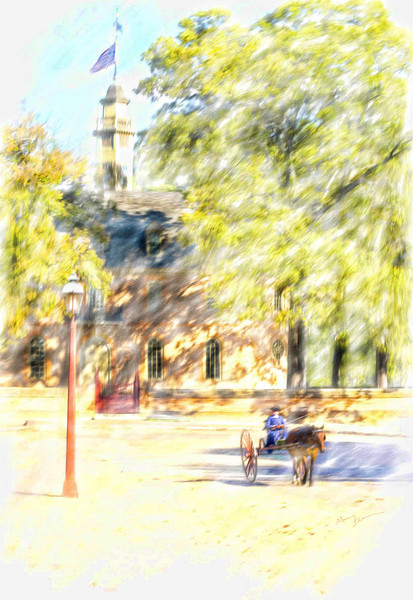 Williamsburg, early revolutionary period.  <br /> <br /> Rendered in watercolor using Painter XI.