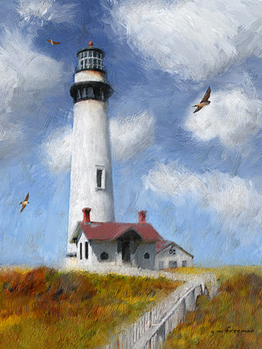 Digital painting of Pigeon Point Light House, CA.
