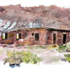 A watercolor rendering of an image of the ruins at Lee's Ferry Utah.<br /> <br /> This image made use of watercolor brushes for Photoshop provided by Brad Buttry's DVD on painting watercolor.  While these brushes are fun and easy to use, they pale by comparison to Painter's watercolor variants.