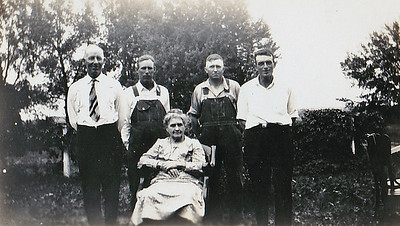 """""""Grandma Reardon with son-in-laws, Joe Bell, (unknown), Ed Olson and (unknown)"""
