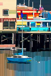 Sail Boat and Fisherman's Wharf - Digital Painting