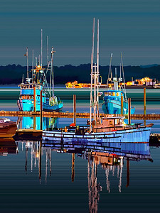 Boats Night - Digital Painting