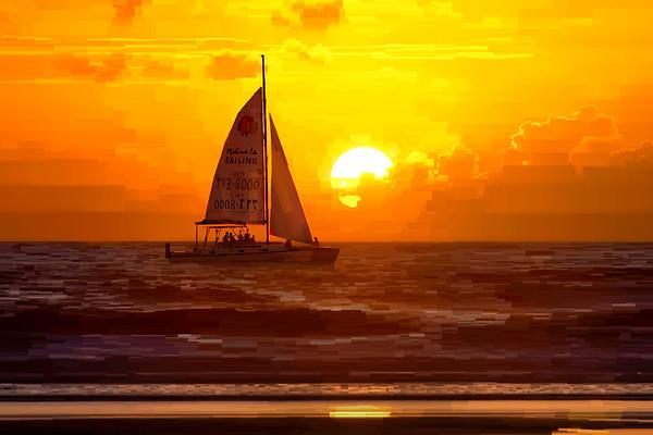 Sailboat Sunset - Digital Painting