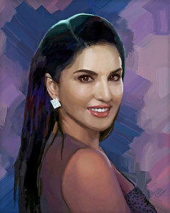"""Sunny"" Indian Actress - Digital Painting"
