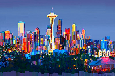 Seattle, WA - Digital painting