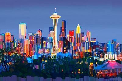 Seattle, WA - Digital painting