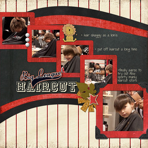 Week 48 LEFT side  created for the November 28 speed scrap at ScrapGirls almost everything from ScrapGirls  3 solid papers: BMU_BeautifulBlack_Paper_Special MRE_InspiredChild_Paper_Black SNU_HeartAndSoul_PprMini-Red used to make frames  2 print papers: TKA_Volleyball_12x12_Volleyballin_SPECIAL TKA_Baseball_12x12_PinStripes_Red_SPECIAL  Instead of flowers on this manly page  glitter starburst from elsewhere I'm not sure who AWI_LittleFriends_Emb_Lion2 old baseball and soccer ball from somewheres I don't know SBA_FallingLeaves_Emb_Football JWH_AYO_TradingCard_Emb_Special  something living: SNU_Noteworthy_Emb-Leaf2 (or the lion above)  Instead of buttons: SBA_BuildingBricks_Circle-White SNU_Noteworthy_Emb_Corner-Black TKA_Baseball_WordArt_BigLeague_SPECIAL  This is my first non-Project52 page in several weeks and for the last couple of weeks I've been missing it but having trouble getting back into it. As as happened before, speed scrapping is the way the way back for me. I think that's because someone else is giving direction. Now I feel re-inspired for scrapping more. Yay!