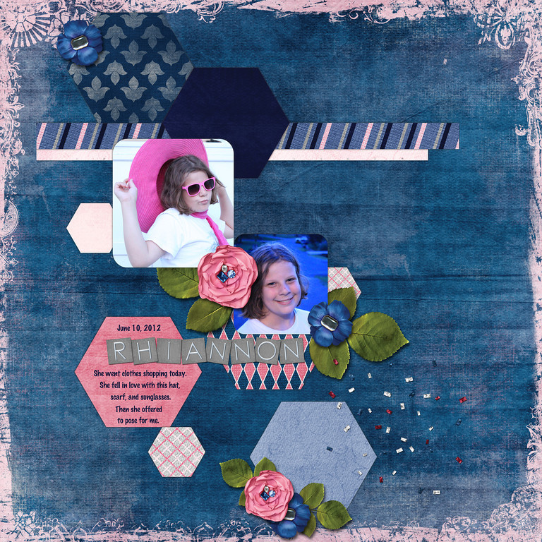 Week 24<br /> Cluster template and kit, Cherish, both by Down This Road Designs at ScrapMatters