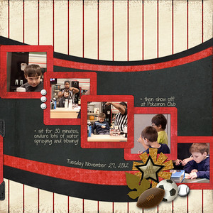 Week 48 RIGHT side  created for the November 28 speed scrap at ScrapGirls almost everything from ScrapGirls  3 solid papers: BMU_BeautifulBlack_Paper_Special MRE_InspiredChild_Paper_Black SNU_HeartAndSoul_PprMini-Red used to make frames  2 print papers: TKA_Volleyball_12x12_Volleyballin_SPECIAL TKA_Baseball_12x12_PinStripes_Red_SPECIAL  Instead of flowers on this manly page  glitter starburst from elsewhere I'm not sure who AWI_LittleFriends_Emb_Lion2 old baseball and soccer ball from somewheres I don't know SBA_FallingLeaves_Emb_Football JWH_AYO_TradingCard_Emb_Special  something living: SNU_Noteworthy_Emb-Leaf2 (or the lion above)  Instead of buttons: SBA_BuildingBricks_Circle-White SNU_Noteworthy_Emb_Corner-Black TKA_Baseball_WordArt_BigLeague_SPECIAL  This is my first non-Project52 page in several weeks and for the last couple of weeks I've been missing it but having trouble getting back into it. As as happened before, speed scrapping is the way the way back for me. I think that's because someone else is giving direction. Now I feel re-inspired for scrapping more. Yay!