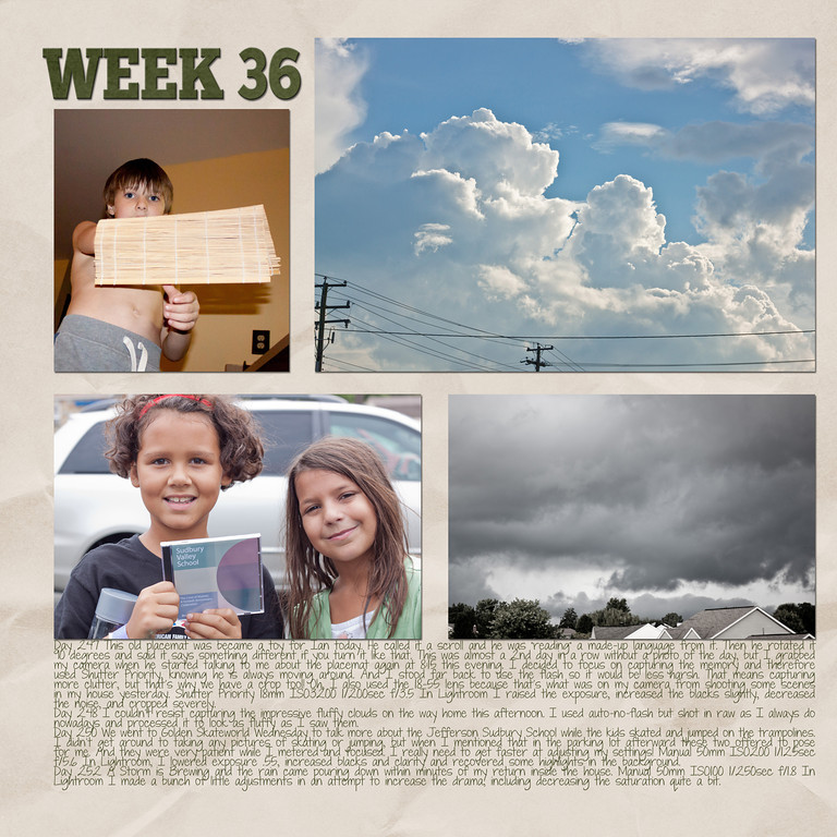 Week 36<br /> papers by Andilynn Designs at ScrapMatters; week title template by Michelle Batton at Funky Playground Designs