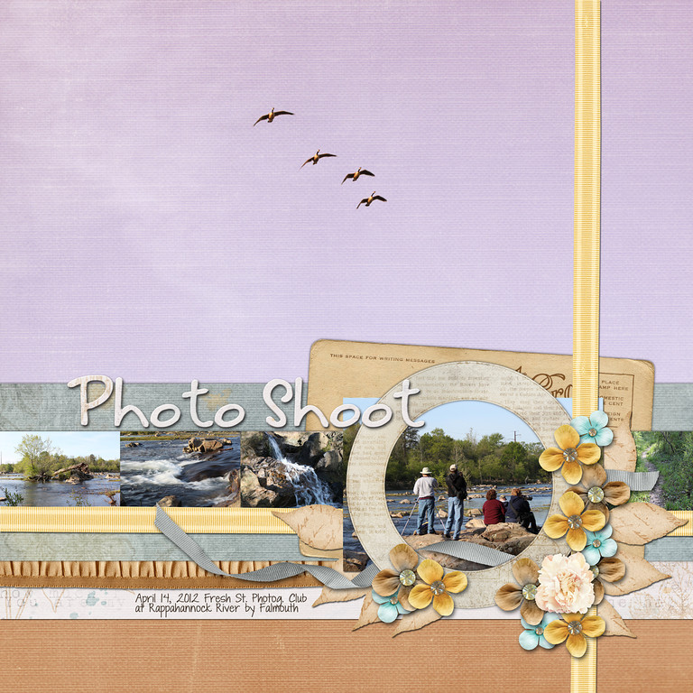 Week 15<br /> Down This Road Designs' contribution to May Make A Kit, Days Gone By<br /> created for my article in her newsletter about focal point in scrapbook layout design appearing this Thursday
