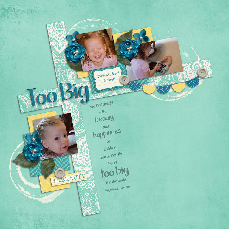 all items from ScrapOrchard except fonts<br /> kit: Megan Turnidge's Beauty From Within<br /> fonts: This Is Not Goodbye by Kimberley Geswein<br /> and Michele (custom font for me) by Stolen Moments Designs at ScrapMatters<br /> template by Little Green Frog Design from July Mega<br /> banner by Happy Scrap Girl in Iron Scrapper Week 1 collection
