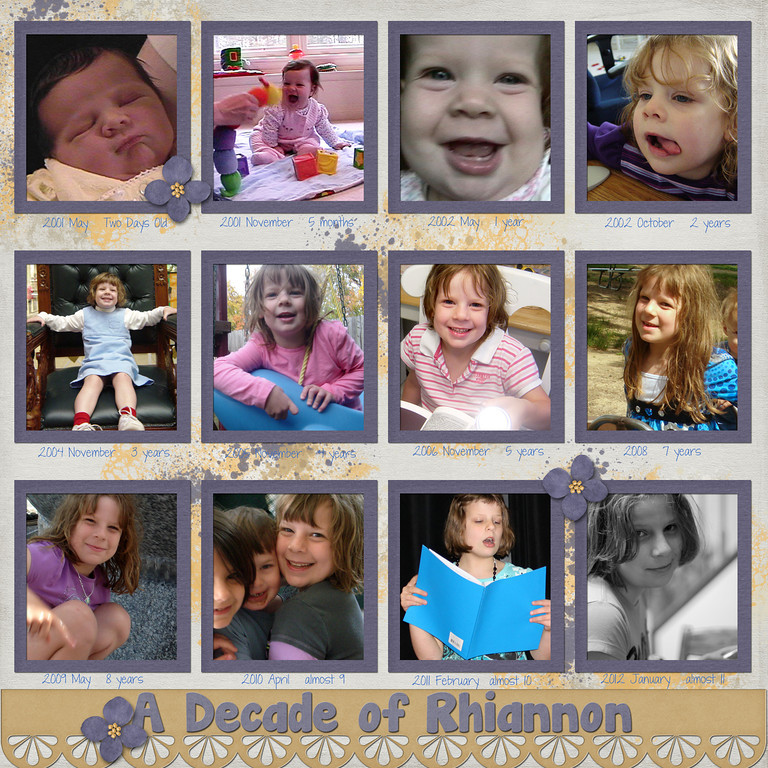 I started this Monday night and got lost, along with my children, browsing through my photo archives to come up with twelve photos of my oldest spanning her first decade (plus a little more; she'll be 11 in May).<br /> <br /> SM collab Snippets Of Life