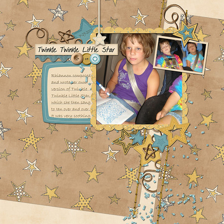 created for ScrapMatters February Challenge #24, to make a split layout I really want to find the lyrics to the song she wrote, part of which I can see in the notebook in the photo; She doesn't remember all the words anymore, despite having sung it many times in the years since she composed it. Bailey by Julie Marie Designs at ScrapMatters